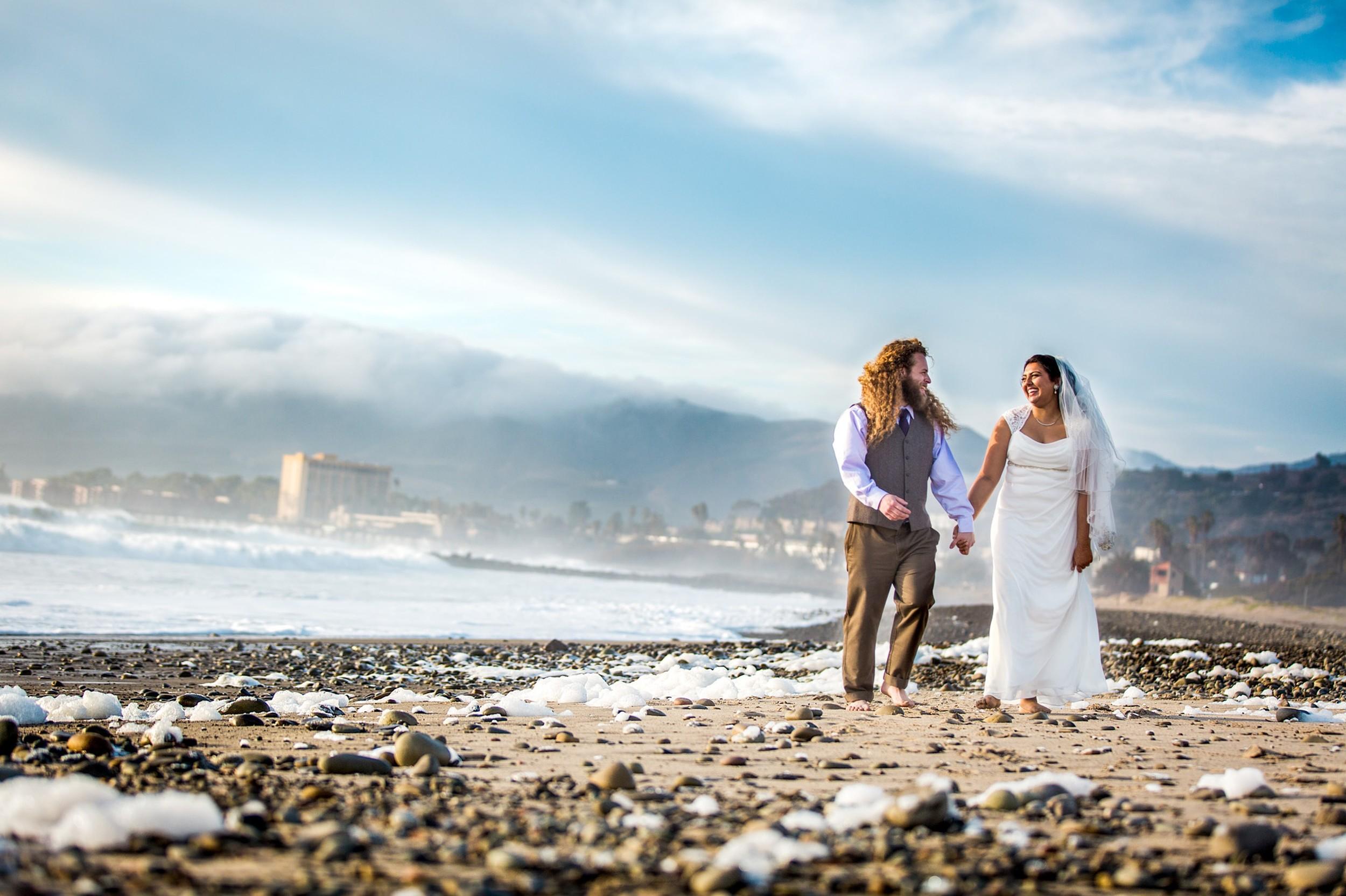 couple on beach-Ventura Beach Wedding
