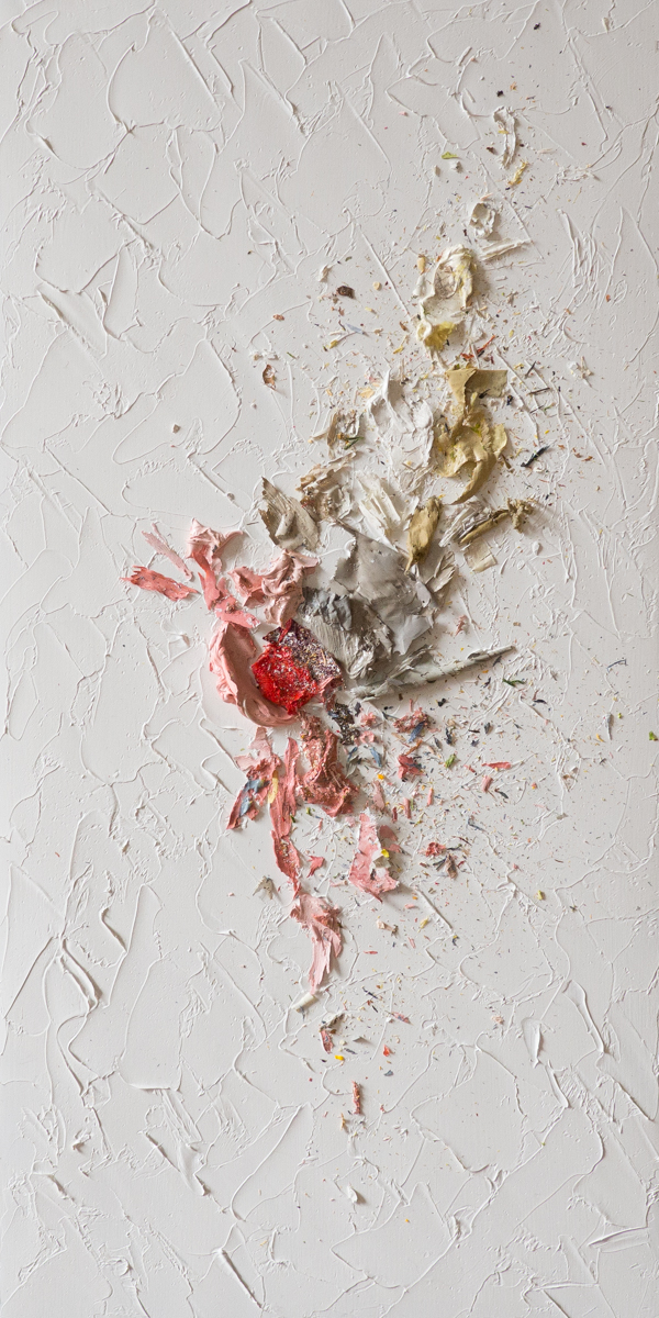 The Complexities of Emotions No.14   oils & oil paint scrapings on wood panel, 12 x 12