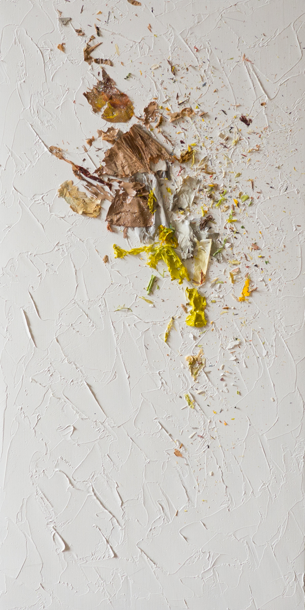 The Complexities of Emotions No.13   oils & oil paint scrapings on wood panel, 12 x 6