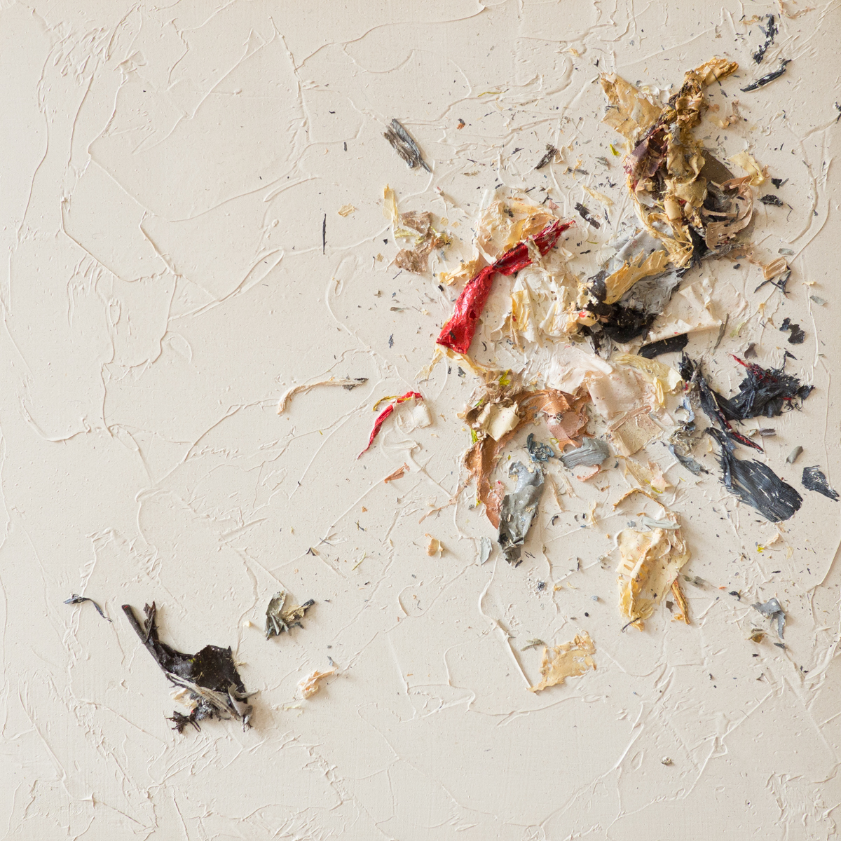 The Complexities of Emotions No.7   oils & oil paint scrapings on wood panel, 6 x 6
