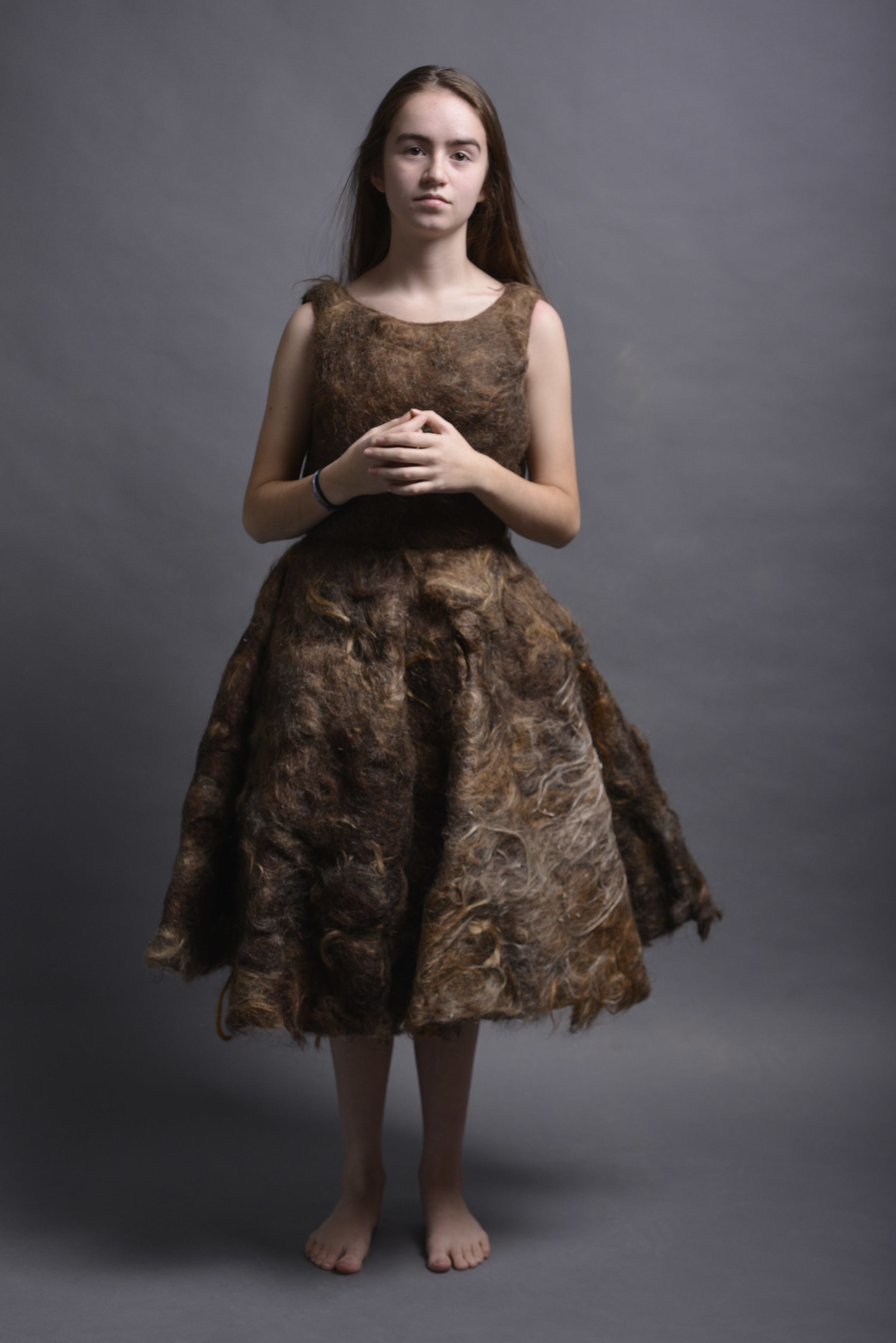 Annabel in her human hair felted dress