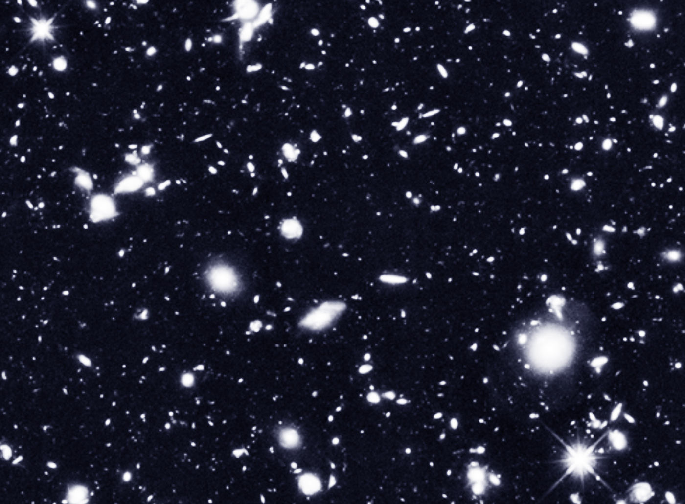 PHOTO CREDIT:  M. Rafelski, A. Koekemoer, R. Windhorst, Z. Levay, NASA.gov.  The Hubble Deep Space Telescope can see into the future. Its depth of field spans 13.4 billion light years from Earth.