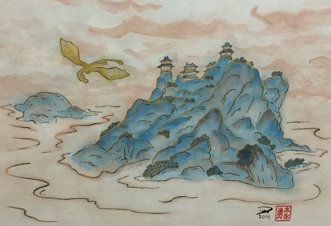 This is the Chinese watercolor version on Xuan paper. There was a lot more bleeding on this than I would like but that is the nature of this paper when using thinned paints.