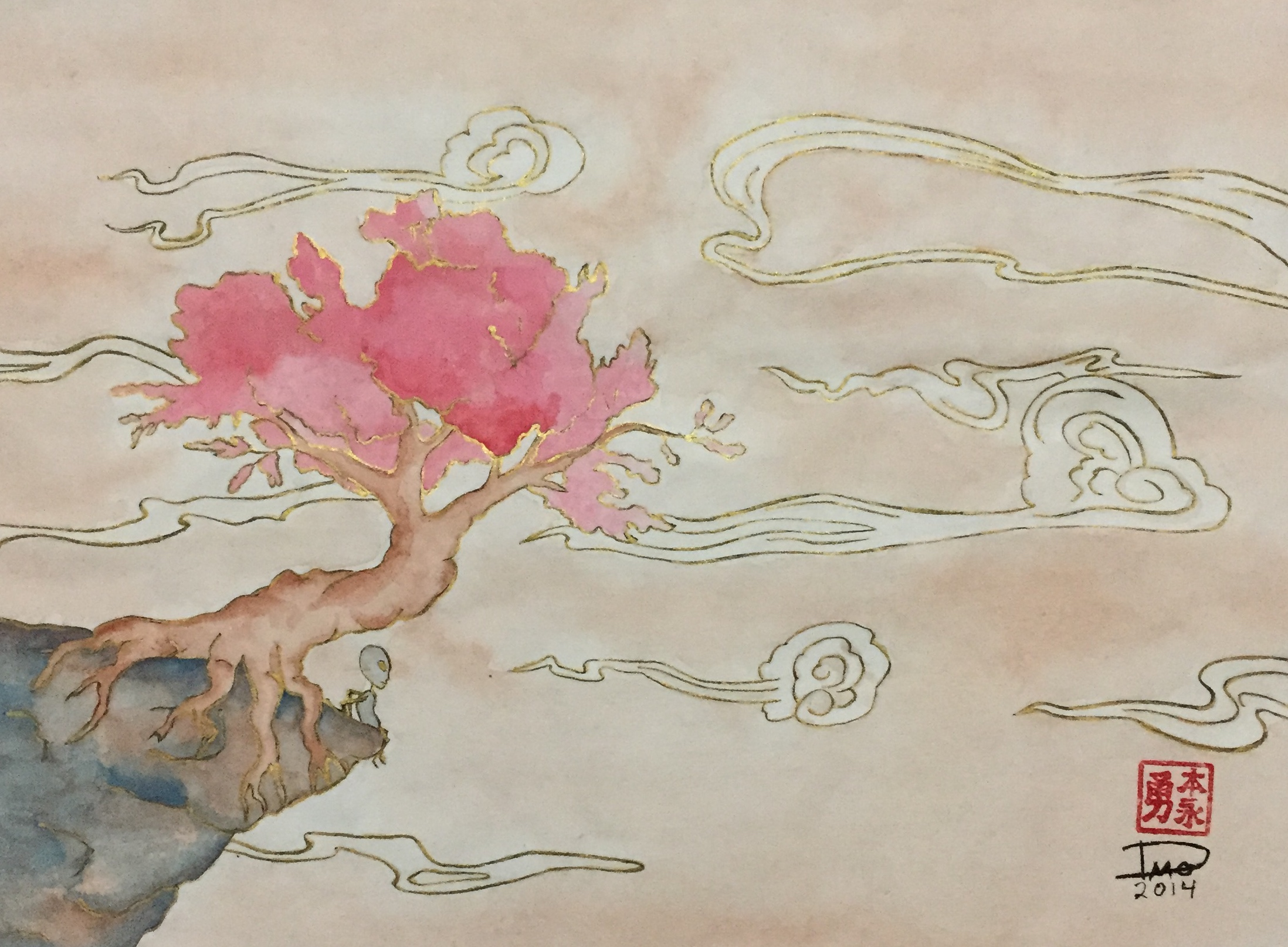 Using the semi-sized Xuan paper made doing this very similar to working with Western watercolor as the water is not readily absorbed by the paper. I missed the gradation effects that occur with the raw paper even though it can bleed like crazy.
