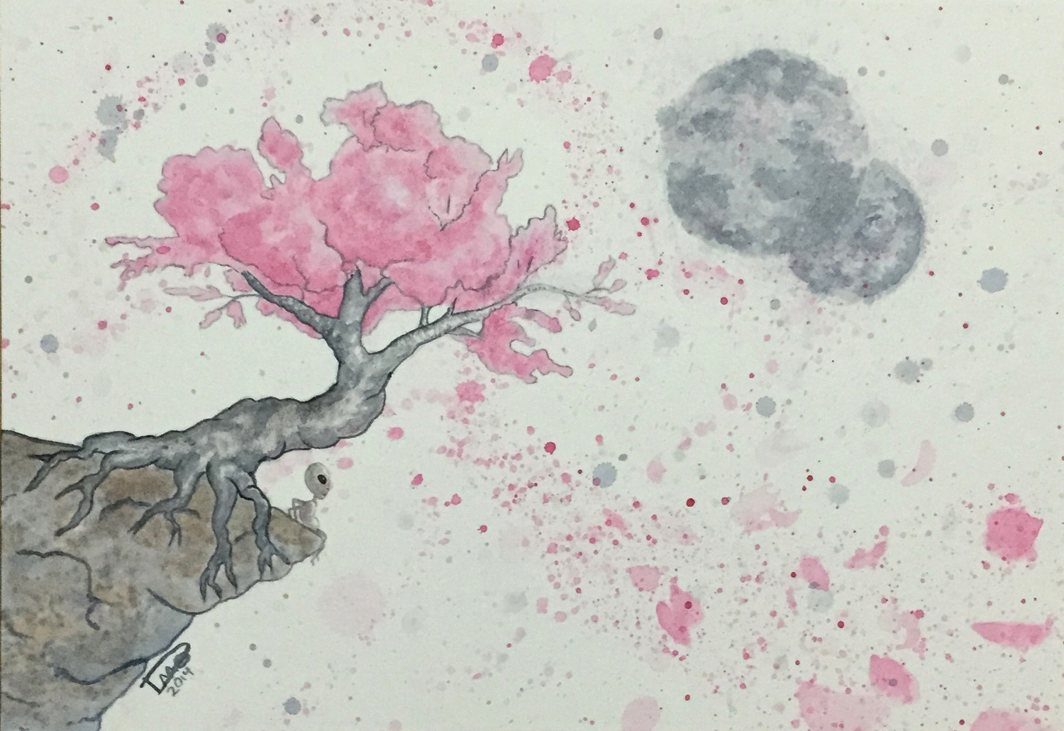 Wasn't sure what to do with the background on this one but I didn't want to do the same thing as the Chinese version. Settled on using paint splatters to create some motion while keeping a simple color palette.