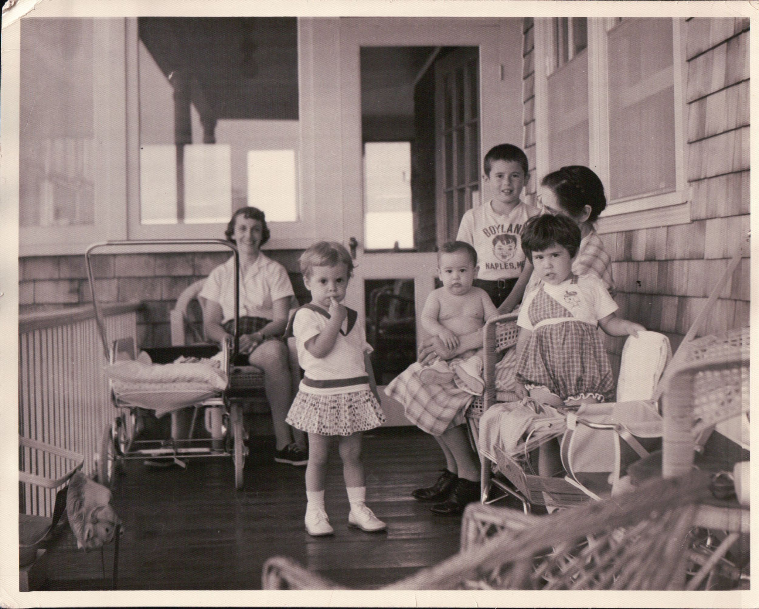 """Left to Right: Great Aunt Hilda Chadinha (late), her daughter Paula Chadinha Tucker, Uncle Martin A. Silva, my Father Paul F. Silva, Aunt Ana M. Larrivee (late), Great """"Vavo"""" Mary Gaspar (late); all hanging out on the porch of the family's old Swansea house, no longer in existence."""