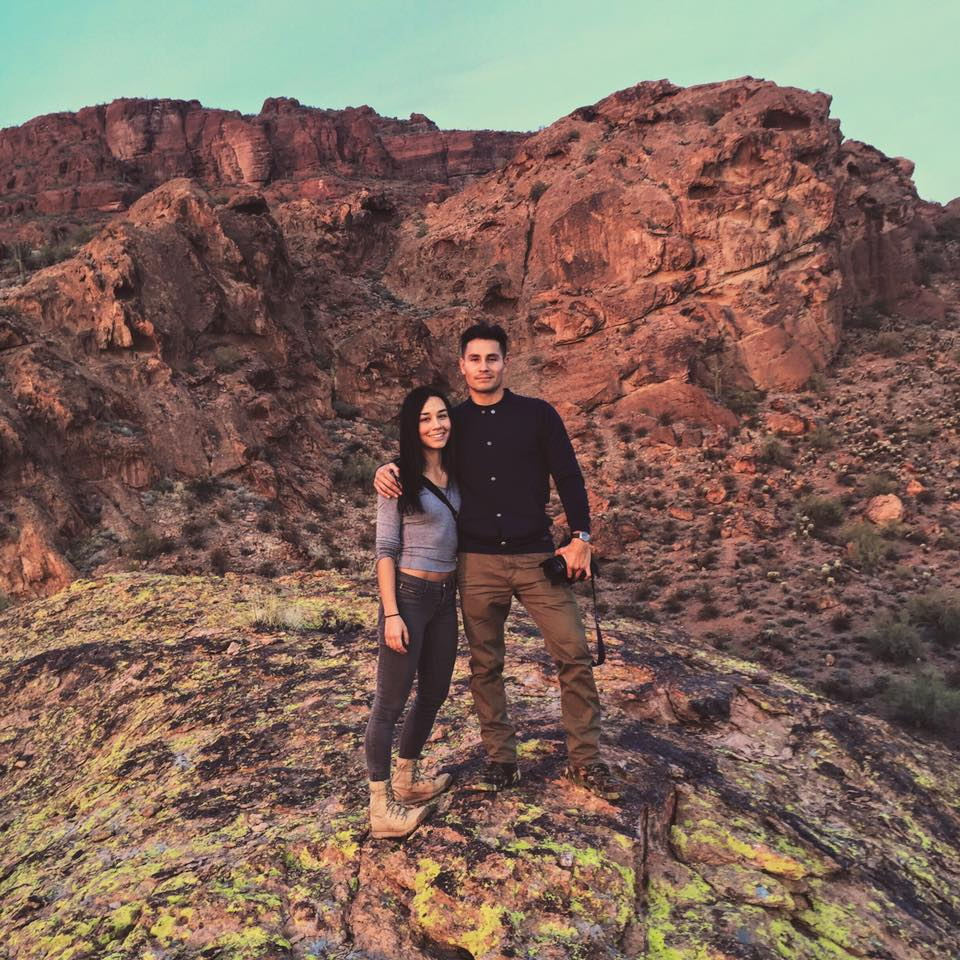 Me and T in the desert - my soon-to-be home.