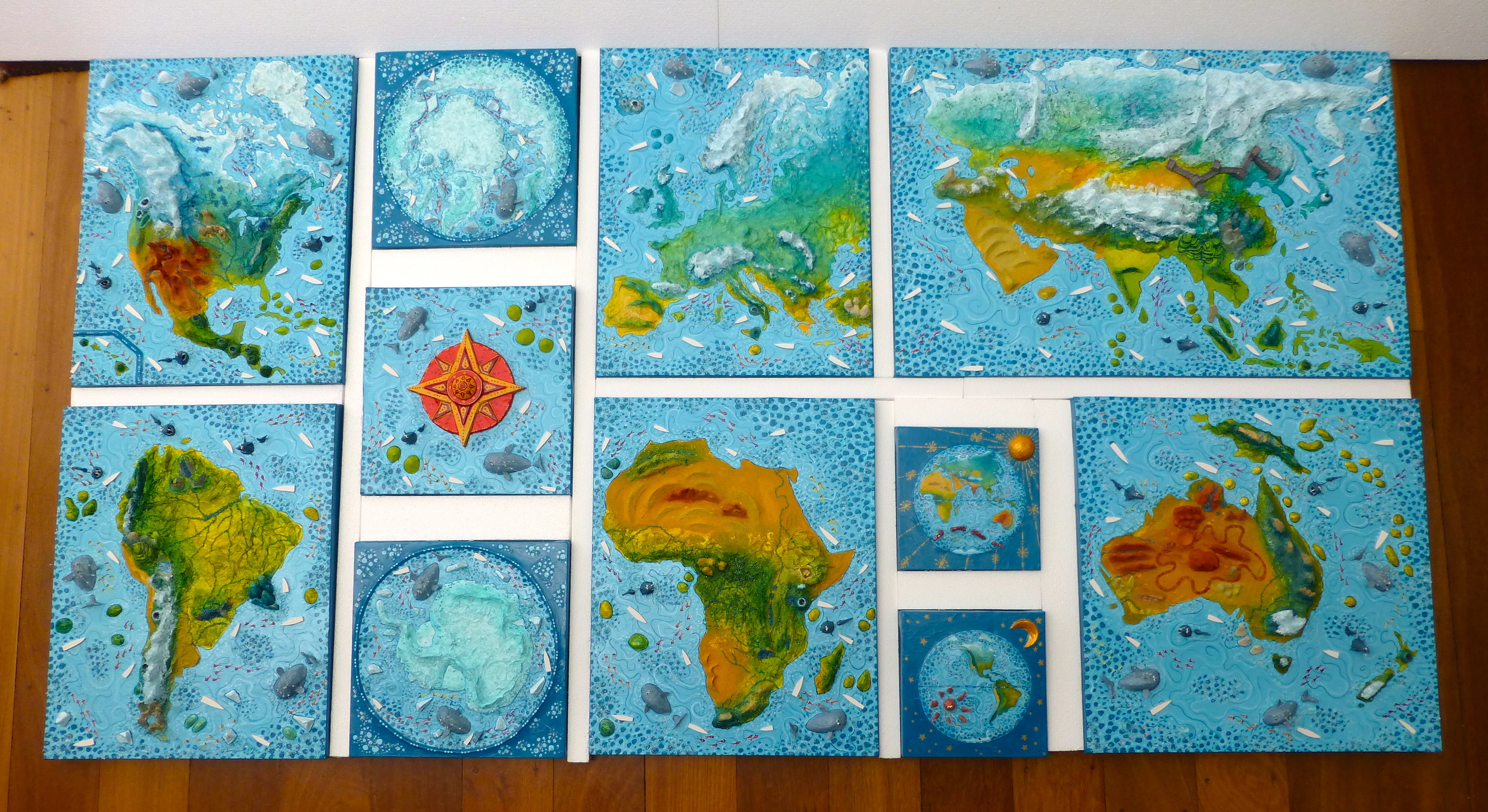 Work in Progress - world map in 11 pieces (200cm x 110cm)