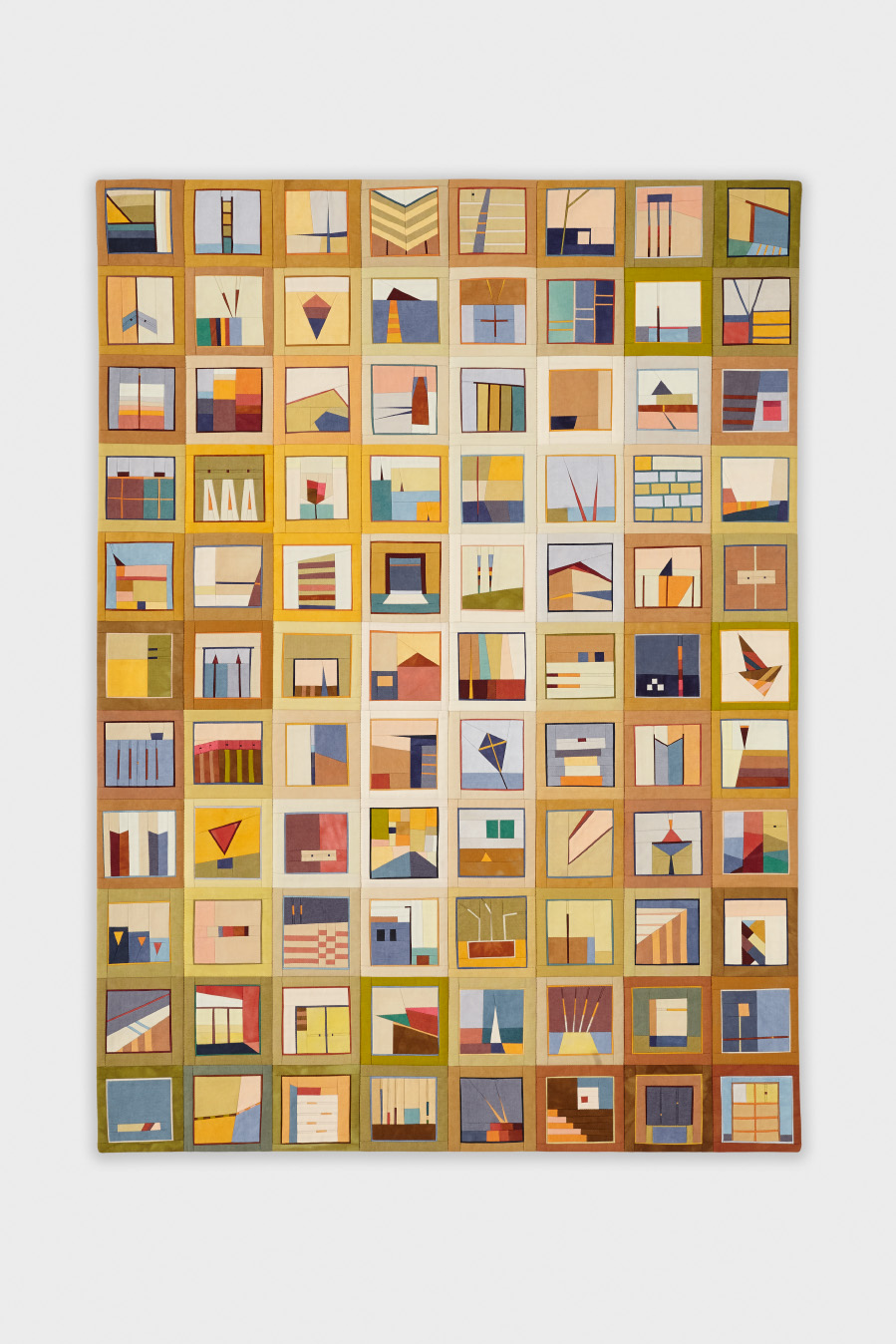 """Color Story: Entrance, 24"""" x 33"""", hand-dyed cottons, pieced and quilted"""