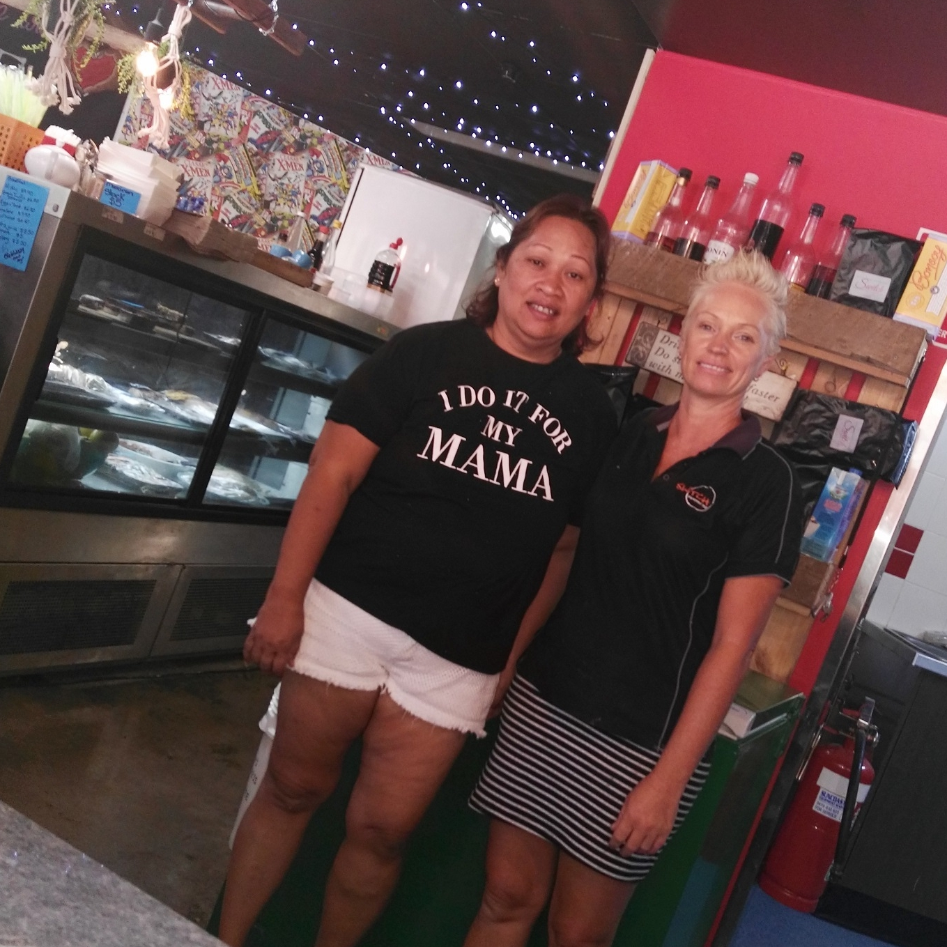 Wanathee and Tina ready to cook in the new kitchen at Switch Espresso.jpg