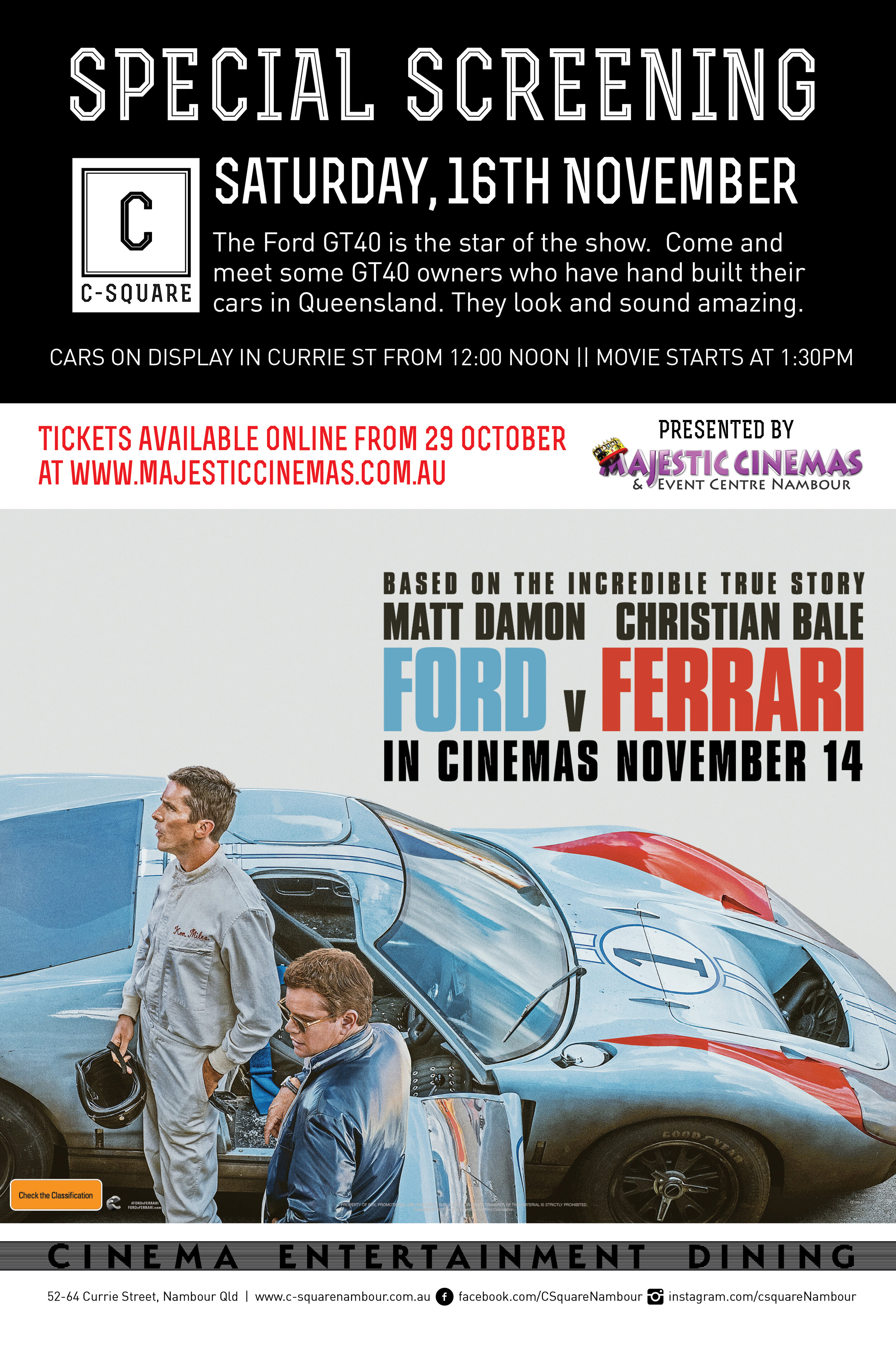 Ford V Ferrari Special Screening And Ford Gt40 Display C Square