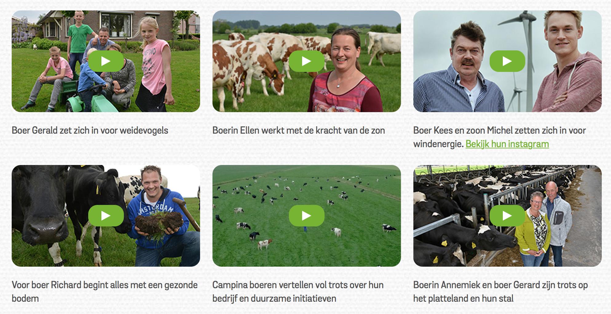Serie video-portretten van Campina boeren