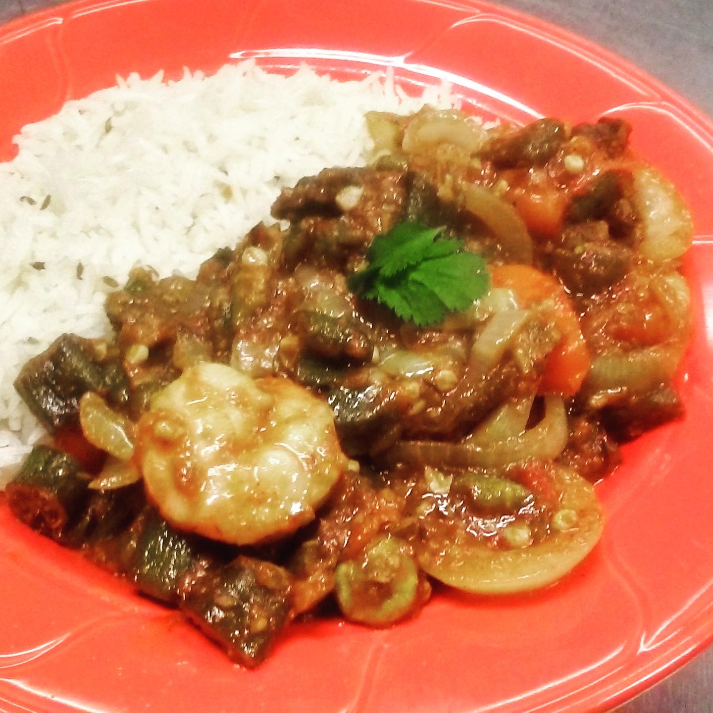 Bhindi Masala with Shrimp
