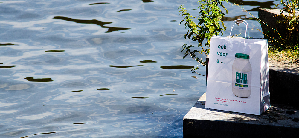 c-bags bedrukte draagtassen voor Pur Natur // multi cycli ecologische draagtassen // automatische papieren draagtassen // low budget