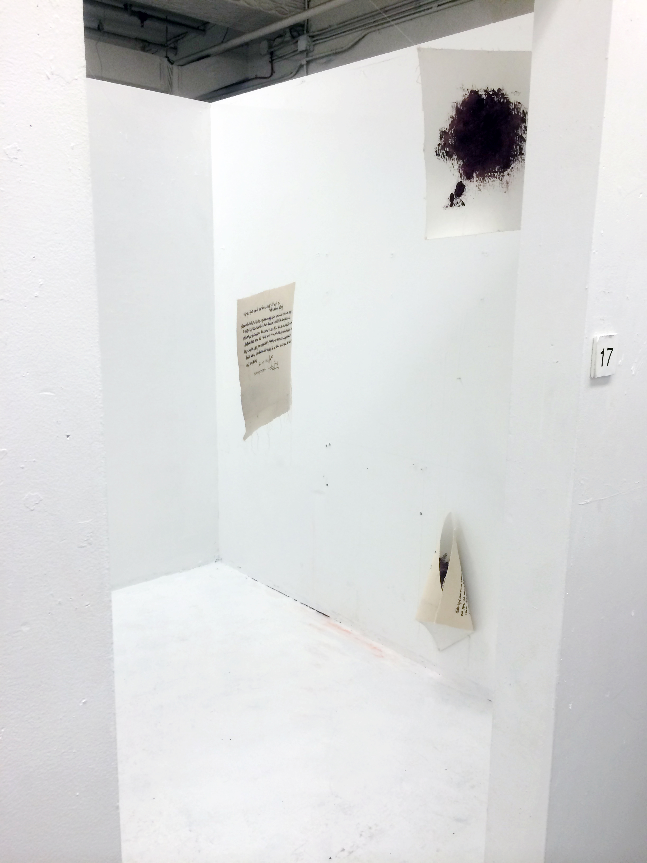 I mean (Double-sided paintings Installation view)  Oil and marker on canvas   Dimensions variable   2015