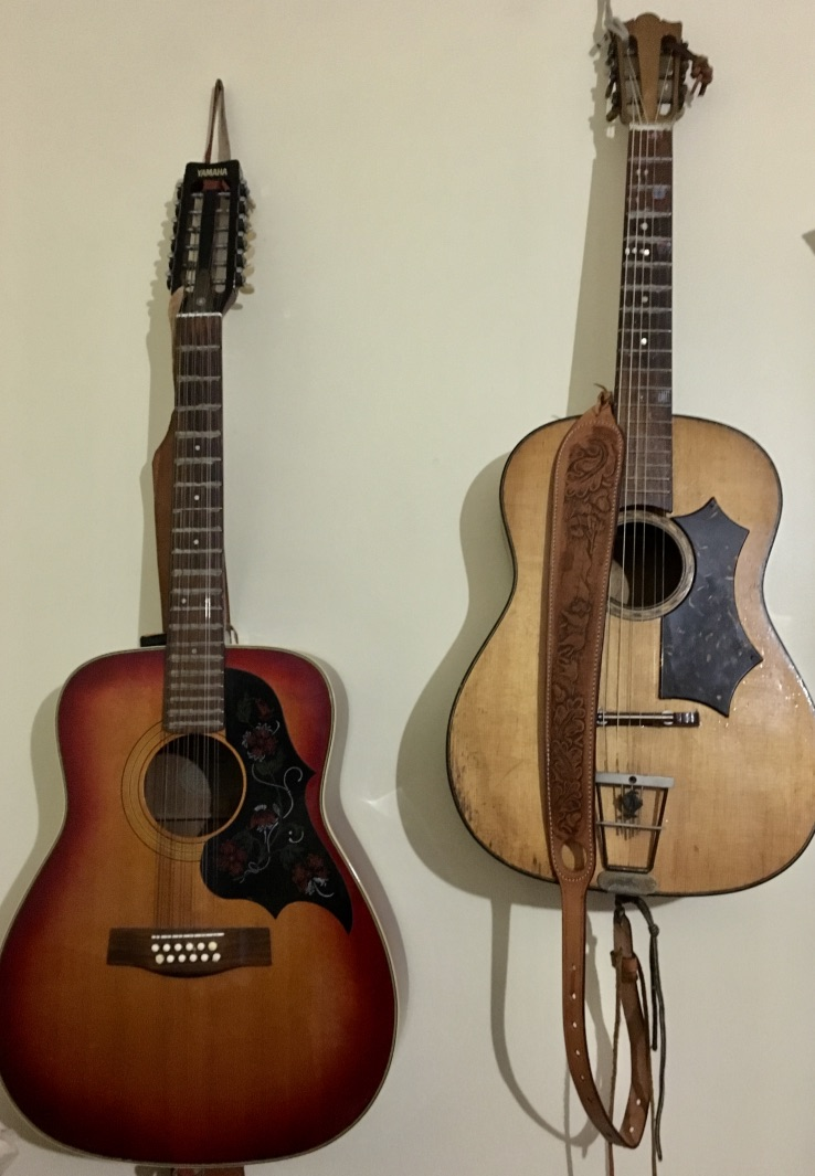 Oupie's 12 string guitar and the guitar he has had and played since he was 16