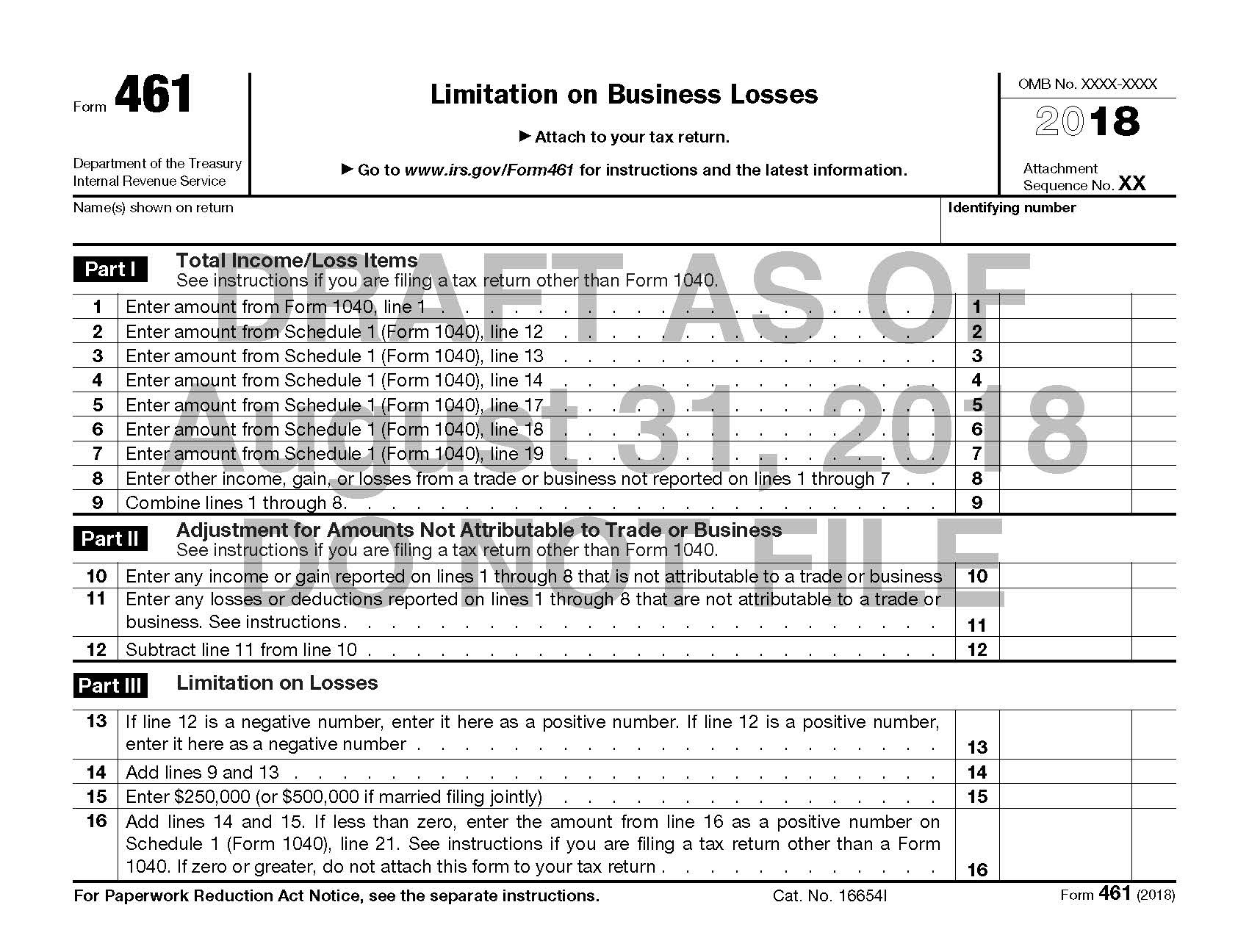 Draft Form 461 (2018), August 2018