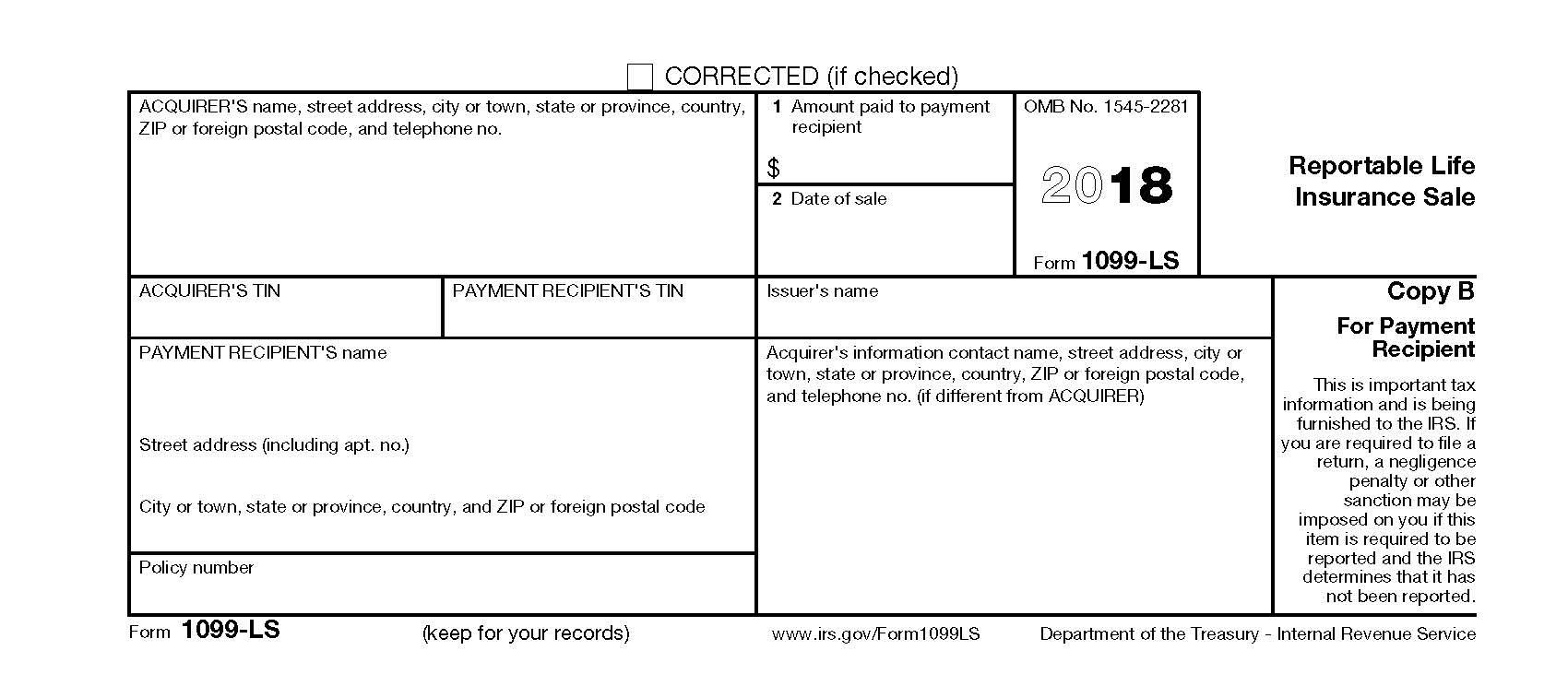 Form 1099-LS (2018)