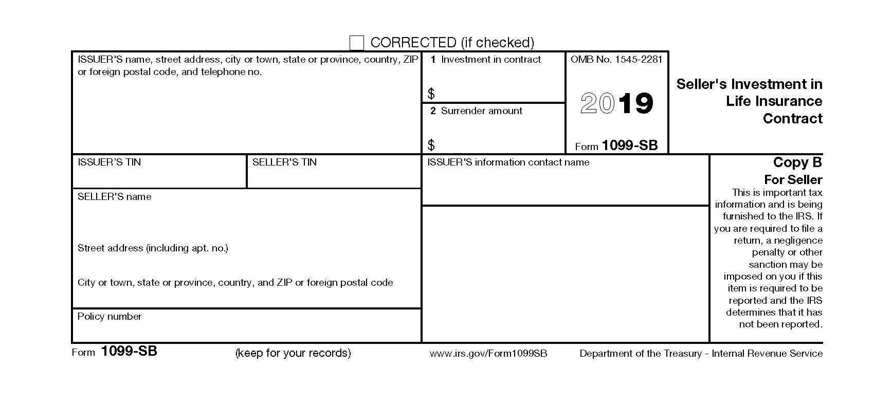 Form 1099-SB (2019)