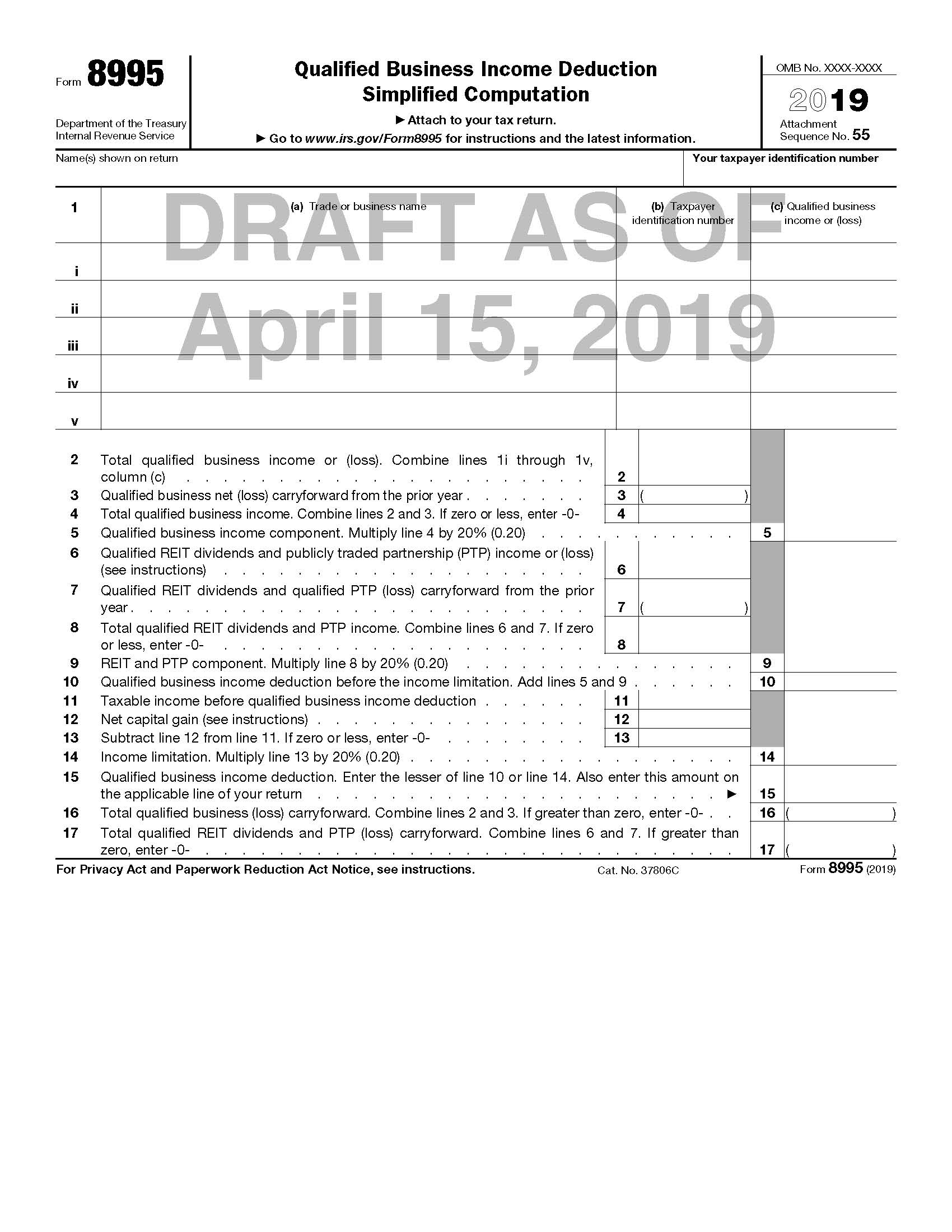 IRS Releases Drafts of Forms to Be Used to Calculate §199A