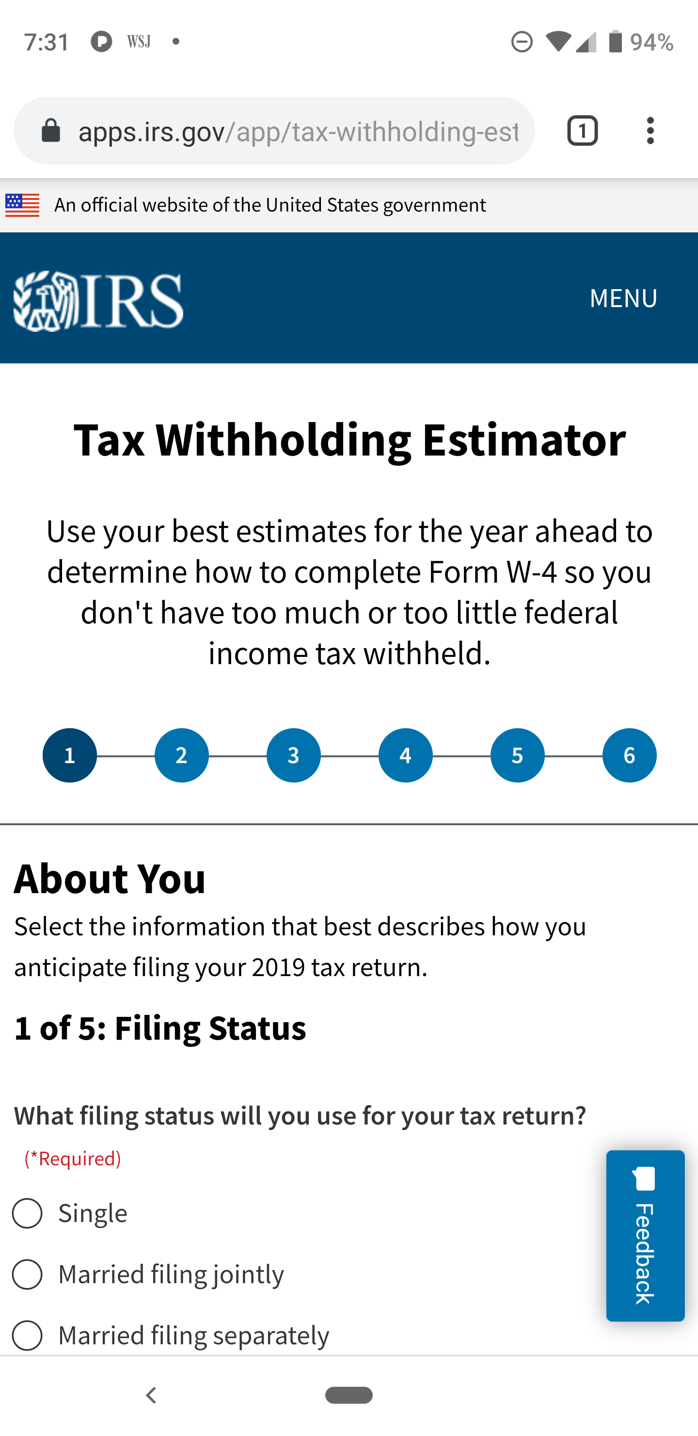 IRS Withholding Tax Estimator on a phone display