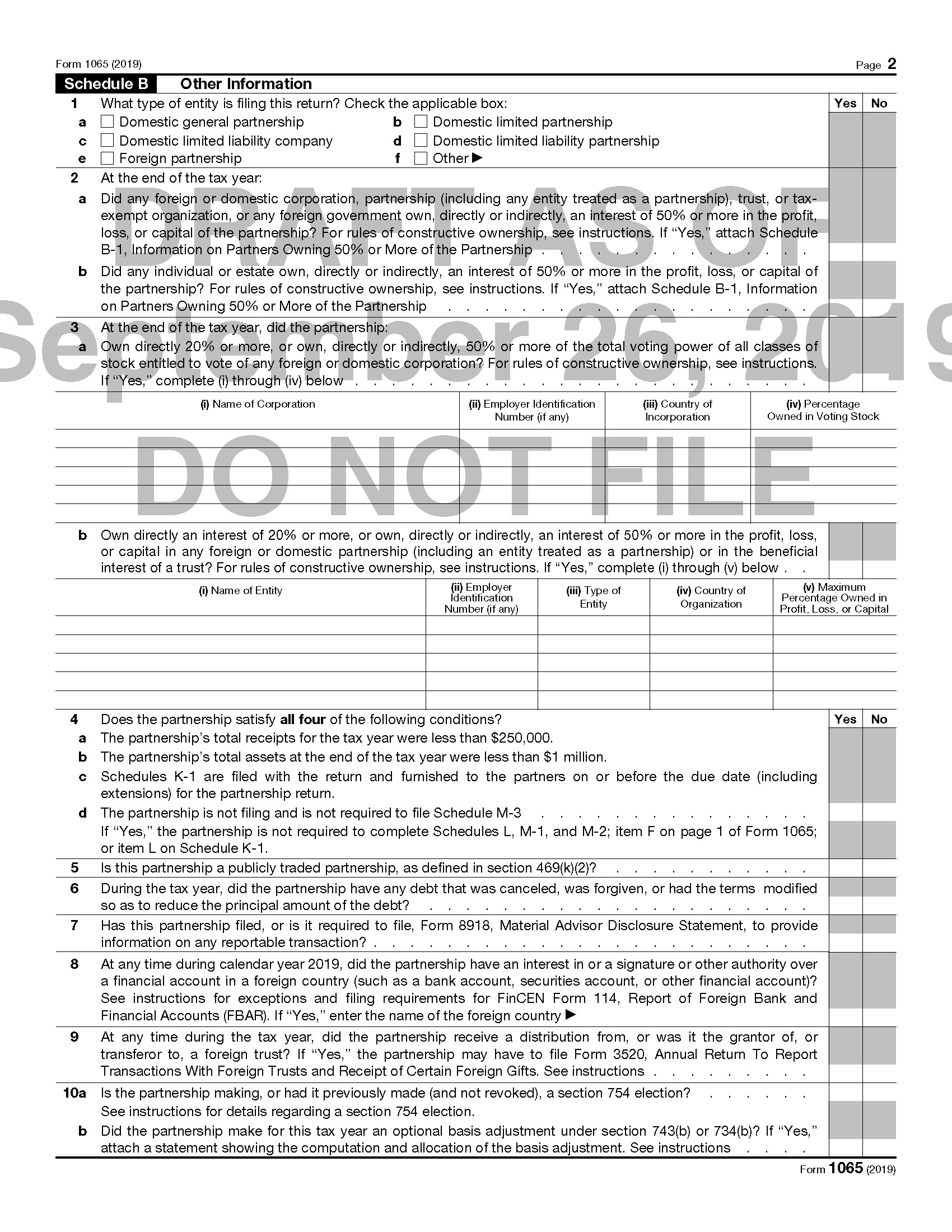 form 1065 questions  Drafts of 9 Forms 9 and 9S, As Well As K-9s, Issued ...