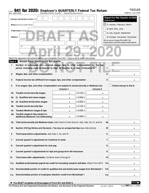 Draft Of Revised Form 941 Released By Irs Includes Ffcra And Cares Provisions Current Federal Tax Developments