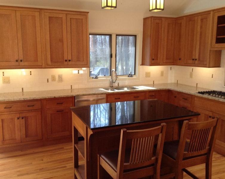 Princeton Kitchen Remodel Wood Floors Black Granite Island Pendant Lighting.jpg