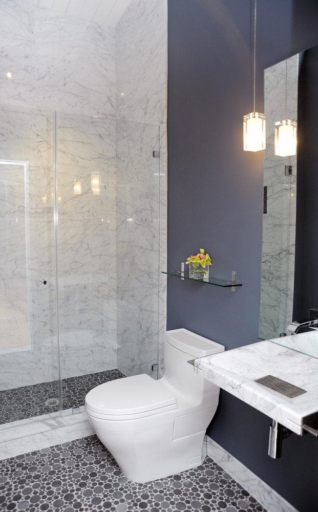 A&E Construction Bathroom Remodel Blue Walls Floating Sink.jpg