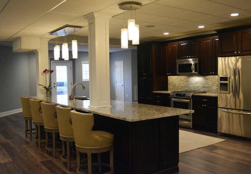 A&E Construction Basement Remodel Wood Flooring Pendant Lighting optimized.jpg