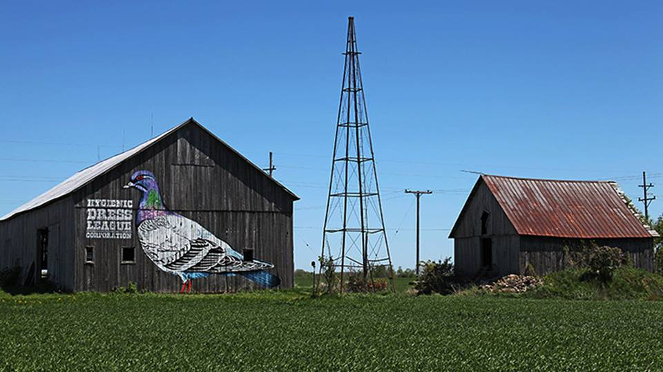 """""""Walden"""" by Hygienic Dress League - part of a two-sided mural that lives on a barn on Ziel Farm, located on the corner of Stoddard and Van Dyke Road."""