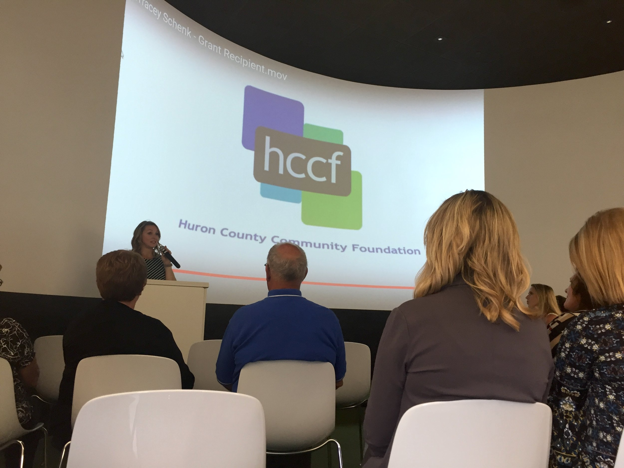 Mackenzie Price Sundblad, Executive Director of the Huron County Community Foundation, speaking at the 2017 HCCF Annual Meeting last Thursday.