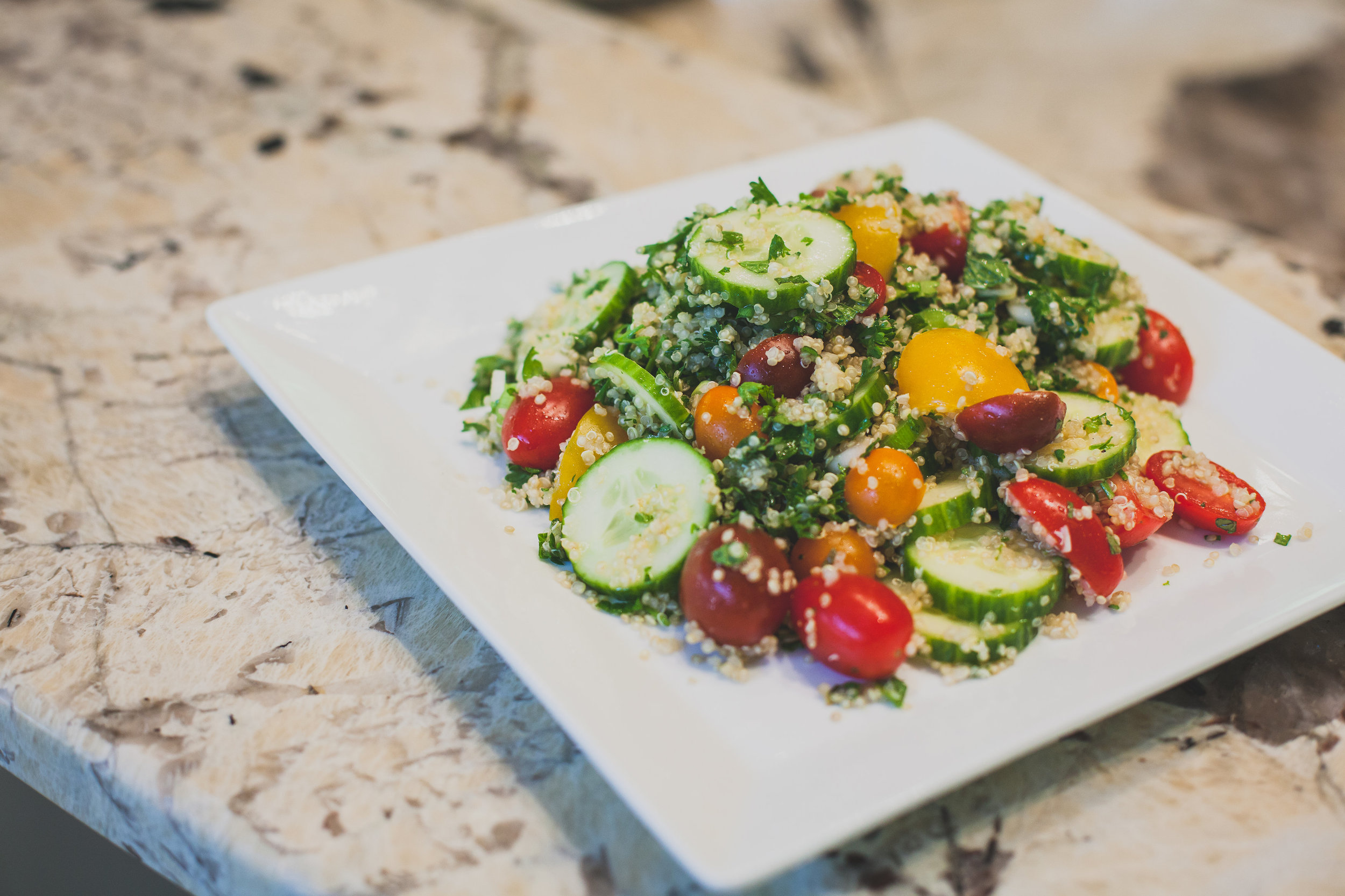Summer Quinoa Salad with Fresh Herbs and Cherry Tomatoes