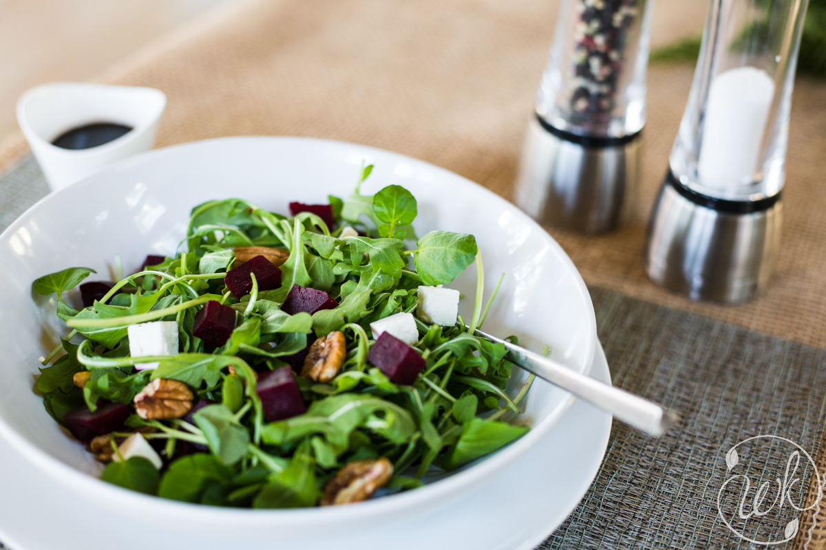 Arugula and Watercress Salad with Roasted Local Beets, Pecans, Feta Cheese and Balsamic Vinaigrette
