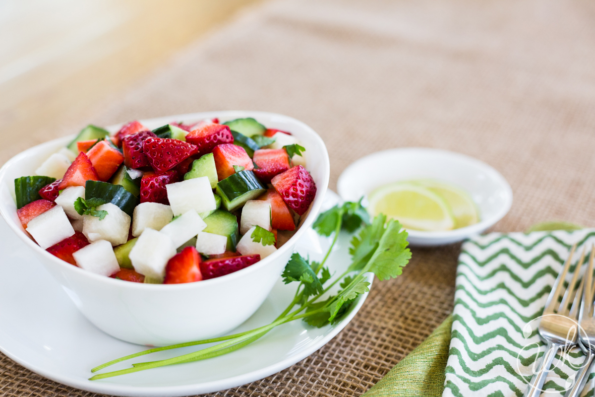 Strawberry, Cucumber, Jicama Salad with Fresh Cilantro and Lime Juice