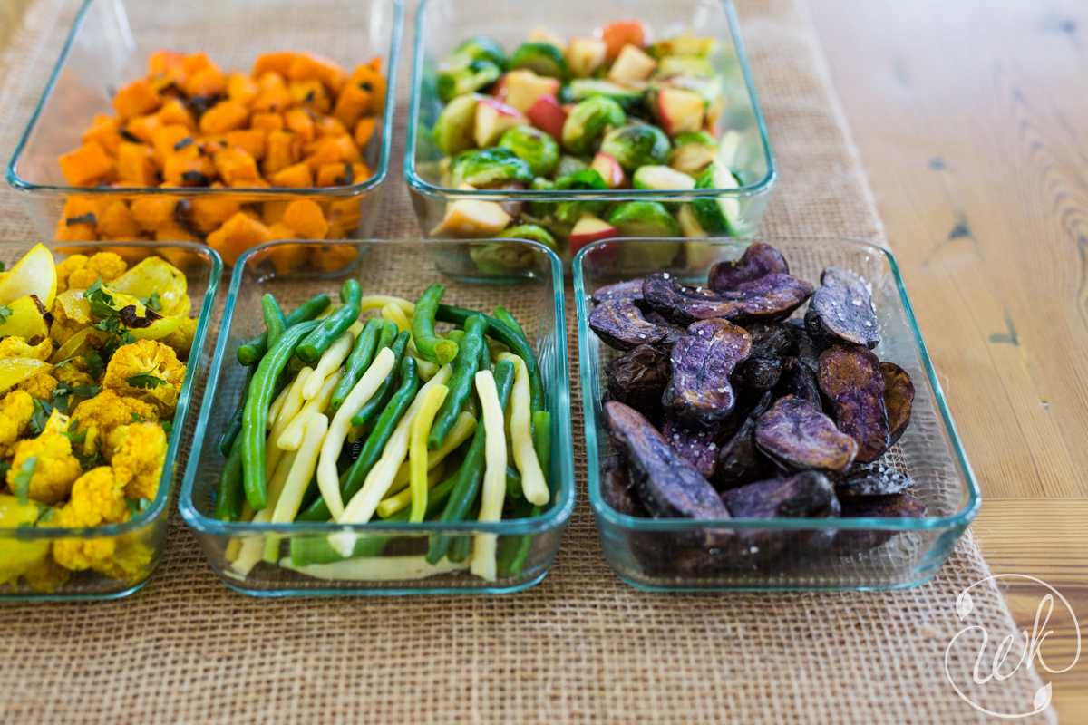Variety of Side Dishes: Roasted Purple Potatoes, Blanched Green Beans, Roasted Curried Cauliflower, Butternut Squash with Sage, Brussels Sprouts with Apples