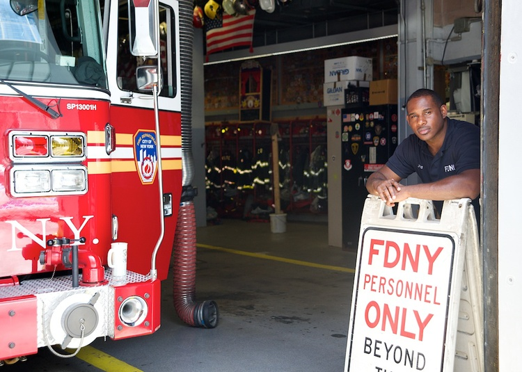 The firefighters of FDNY's Ladder 10 don't want us walking into their firehouse, but they didn't mind me taking this photograph. As long as we stay on public property and don't impede their ability to respond to emergencies, photographers are welcome.