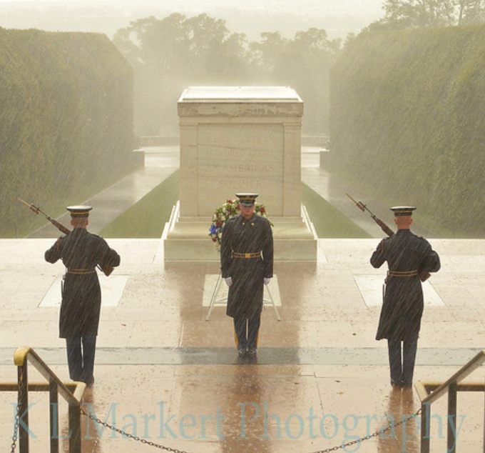 Karin Markert captured a series of photos at the Tomb of the Unknown Soldier, Arlington National Cemetery, Sept. 18, 2012. This image of soldiers on duty in the rain attracted almost 1 billion views in a week. (Photo by Karin Markert.)