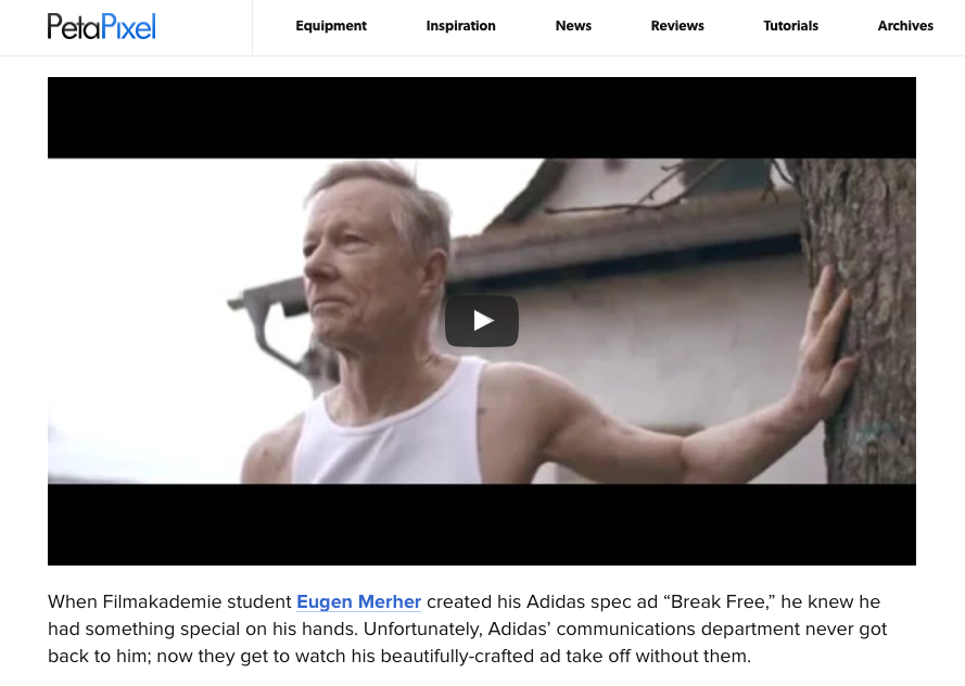 German film student produced his own Adidas commercial as a long term project.