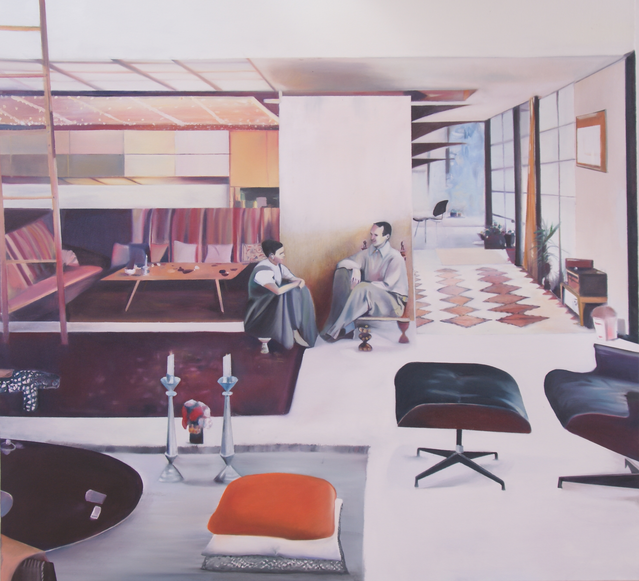 Alexandra Baraitser Charles and Ray Eames At Home Oil on Canvas 120x110cm 2015