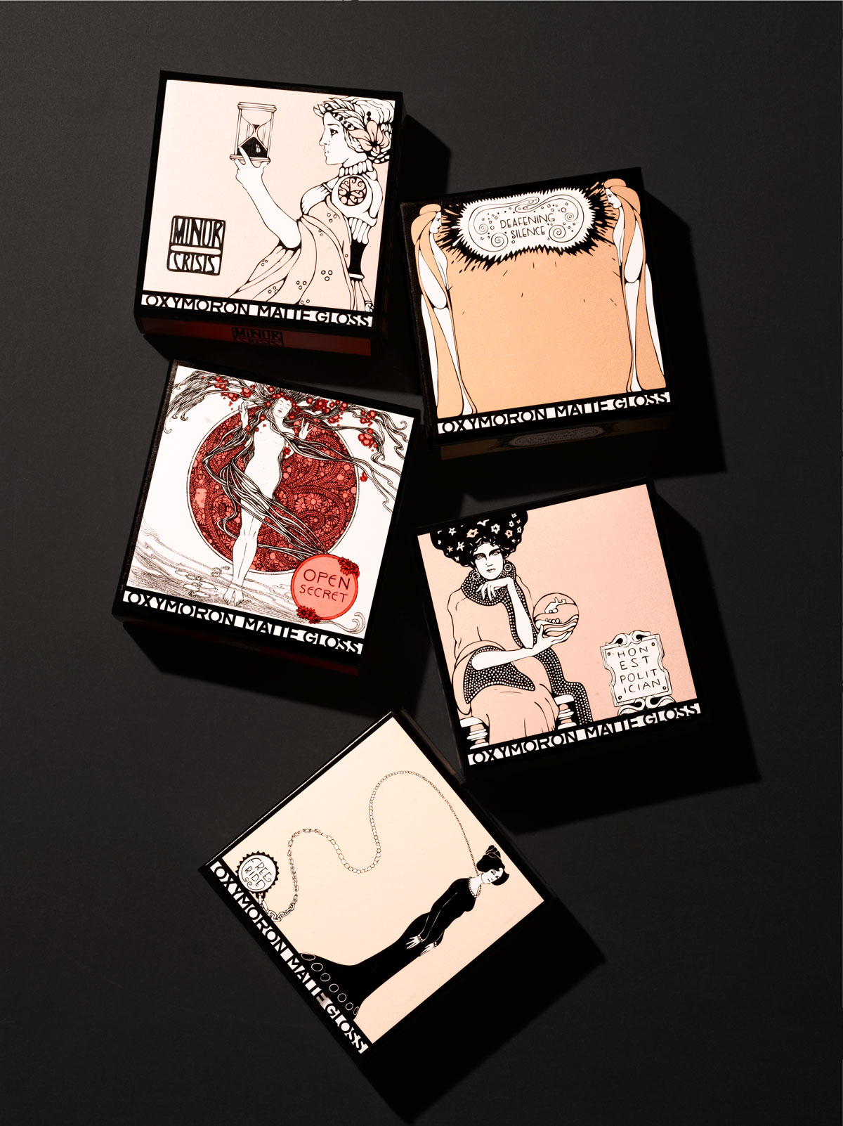 Hand Drawn Illustrations for Luxury Beauty and Cosmetics Brand Lipstick Queen. Packaging Design and Custom Lifework Illustrations by James Benard of Benard Creative.