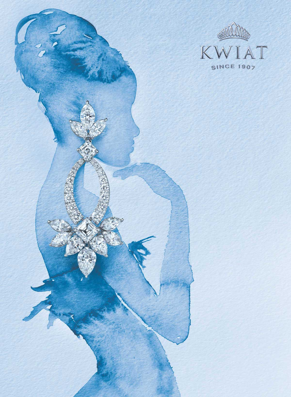 Watercolor Painting Advertising Campaignfor Luxury Fine Jewelry Brand, Kwiat. Includes Embossed and Engraved Logo Design by Benard Creative.