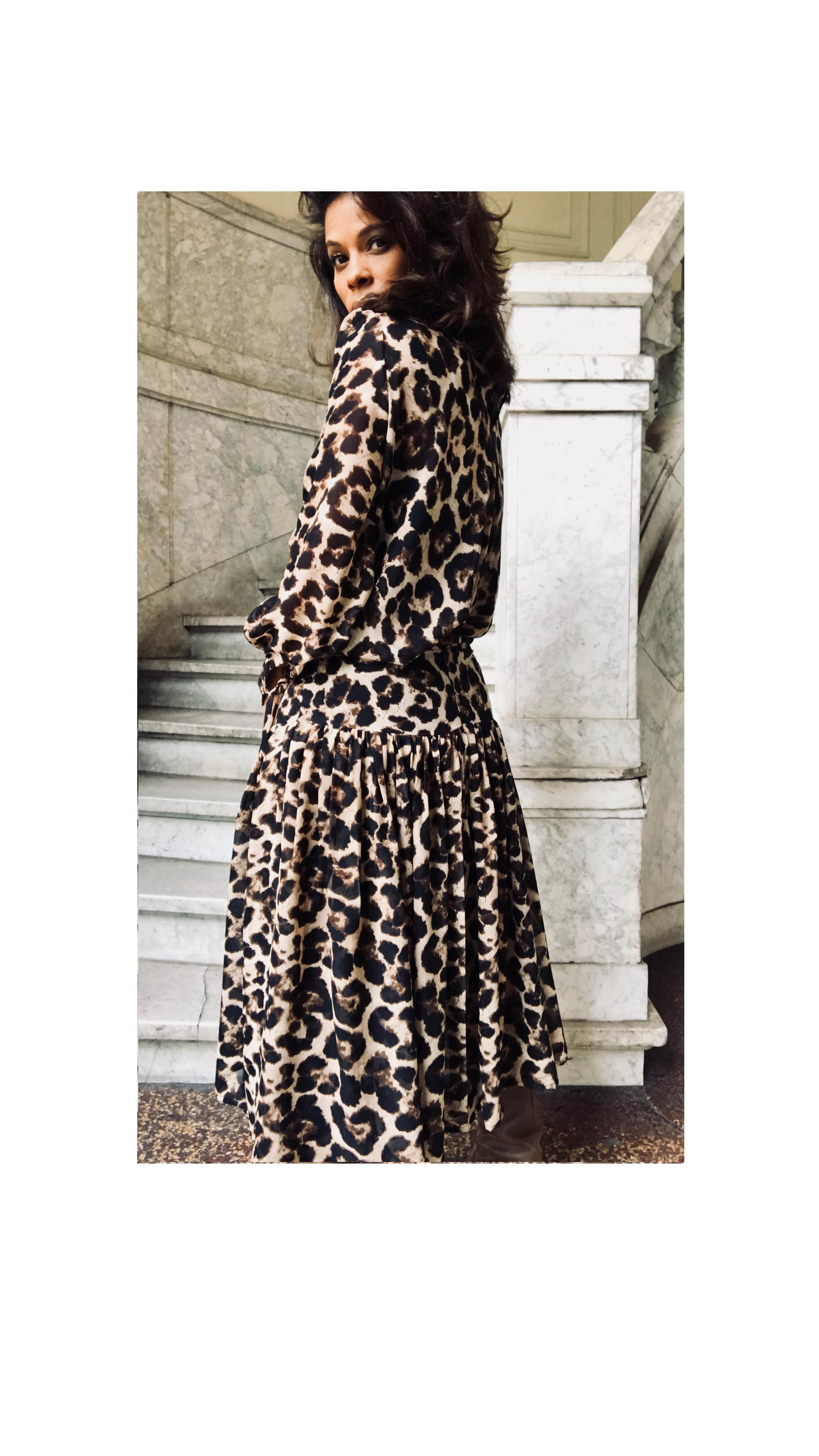 Leopard wijde Rok - Shop the Look