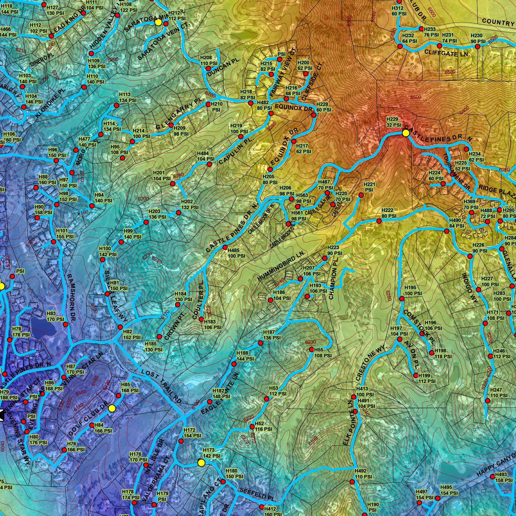 ArcGIS WATER PRESSURE MAP