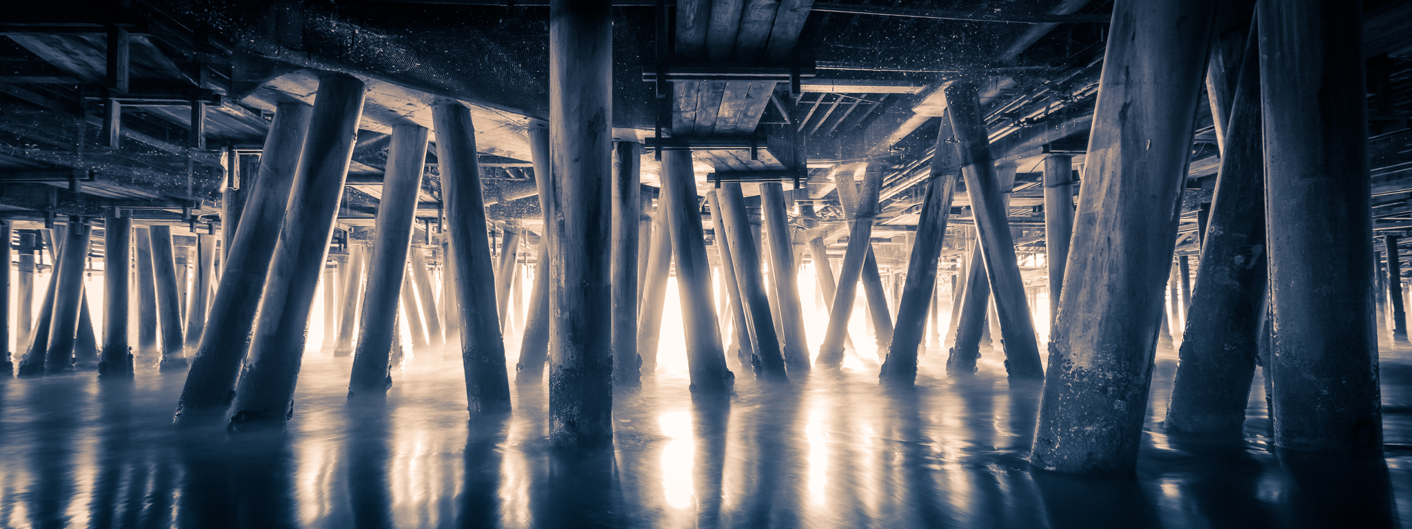 Underneath the Santa Monica pier using a 10-stop ND filter.