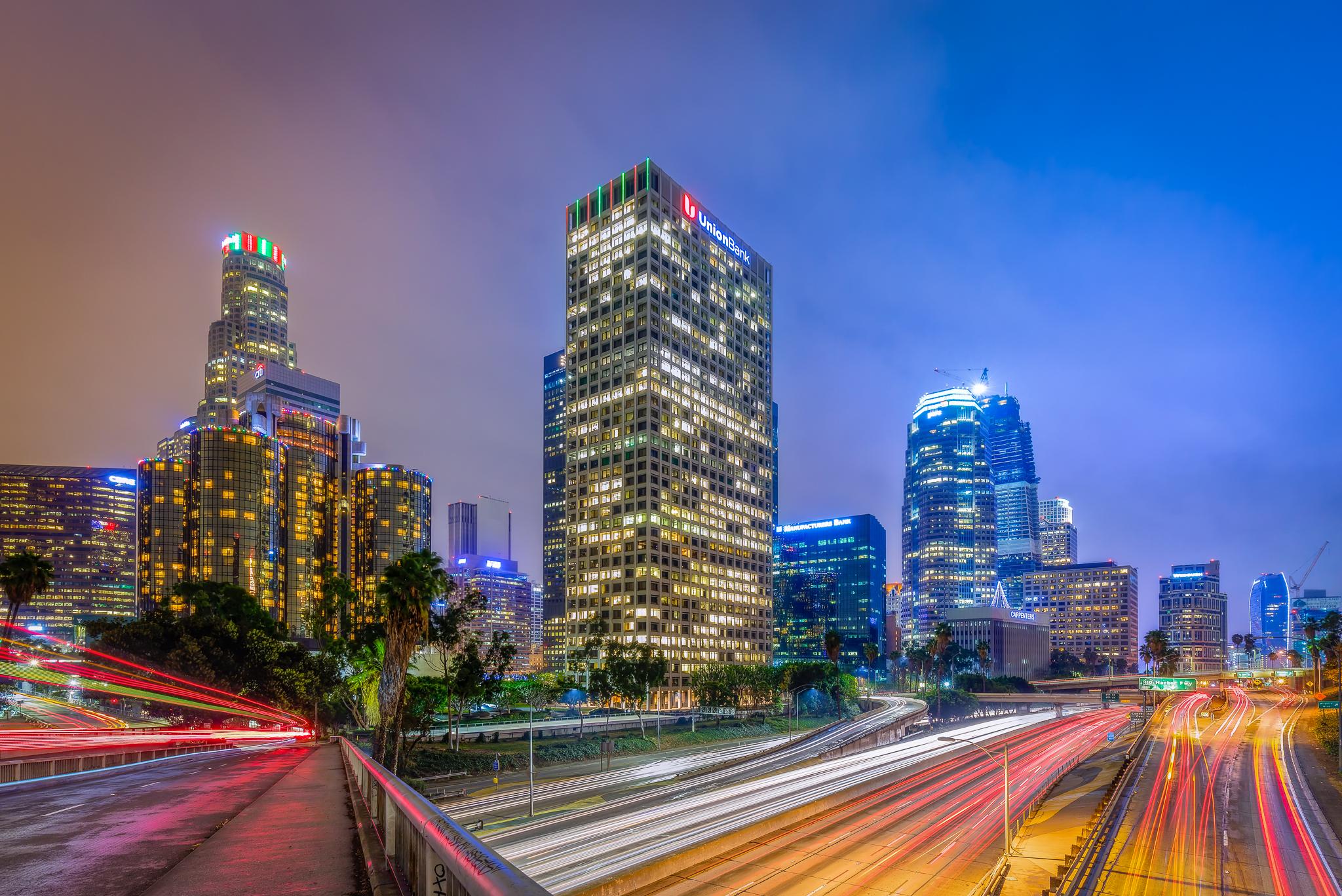 Los Angeles Skyline on a misty night.