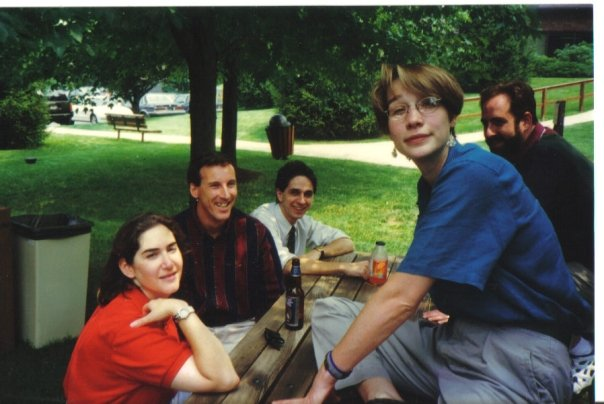 From Infonaut Joyce Bell's Facebook post, a young (left to right) Beth Laing, Rich Gallagher, Josh Kopelman, Lucinda Duncalfe and Mike Krupit.
