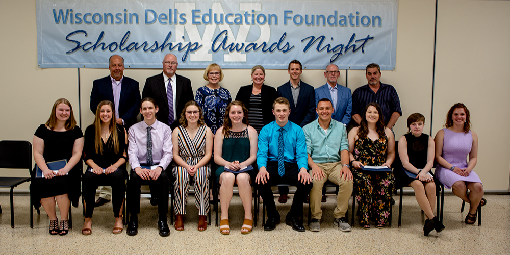 Front Row: Emily Gilbertson, Katelyn Meister, Daniel Nate, Kennedy Hickey, Caelan Tourdot, Dylan Anchor, Kayleb Galloway, Madyson Voigt, A'di Dust, Tess Jisa  Back Row: WDEF Executive Board: Joe Eck, Kelly Bauer, Diane Johnson, Jennifer Gavinski, Kyler Royston, Randy Kuhnau, Todd Nelson (not pictured WDEF Board Member Tom Diehl)