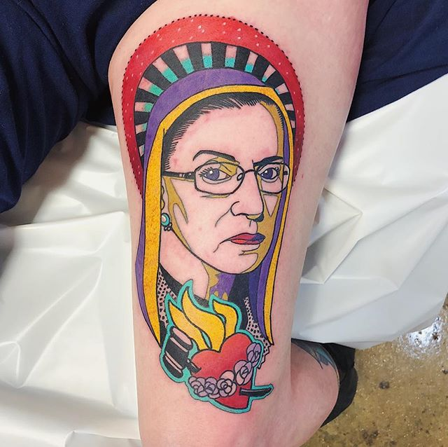 I was somewhere near Grayling, driving through a snow storm and listening to the Sex Appeal episode of More Perfect when I had the best tattoo idea of my life. I immediately messaged Geary Morrill. He executed it fucking perfectly. #rbg #immaculateheart #juxaposition #tattooedbabes #tattooedwomen #judgingyou #ruthbaderginsburg #notoriousrbg