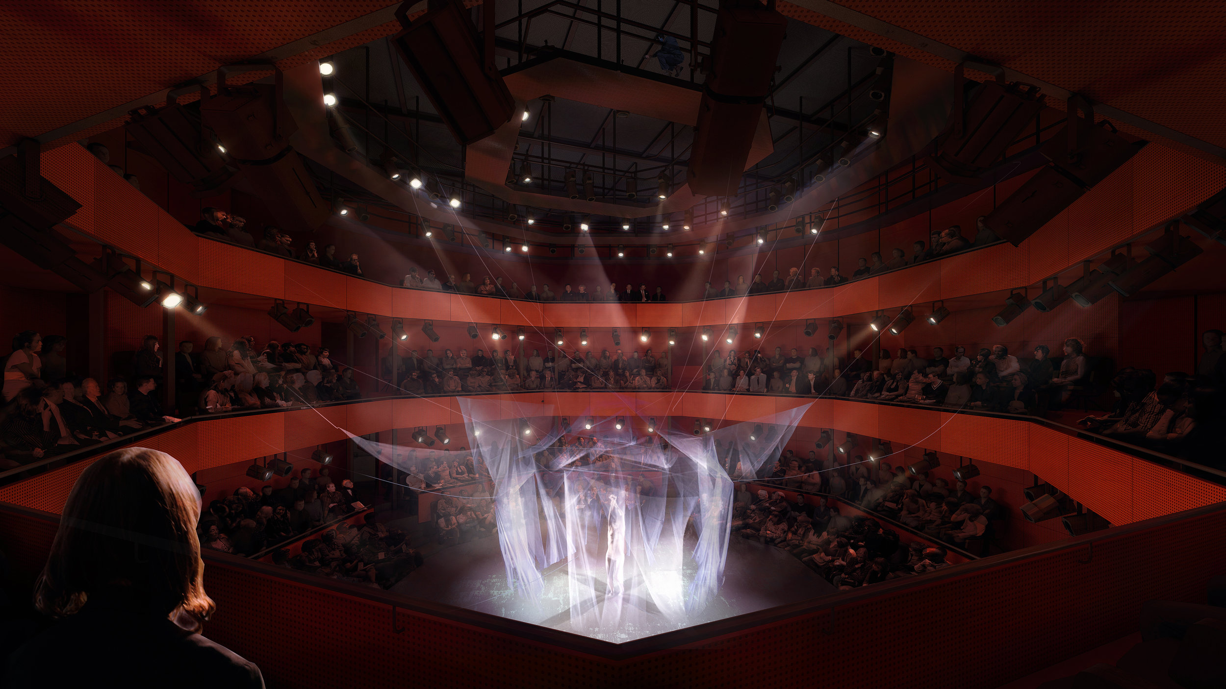 PLAY LEVEL RENDER: 499-PERSON AUDITORIUM IN THEATER-IN-THE-ROUND  © LUXIGON